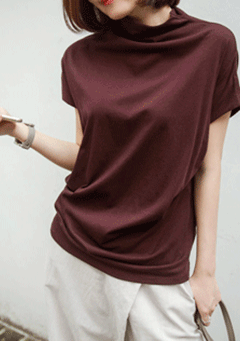 Satire Thigh Neck Short Sleeves Top