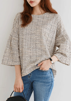 Tweed Check Blouse