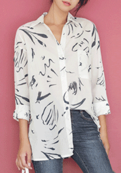 Flower Sketch Long Sleeves Shirt
