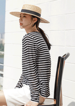Jarvie Stripes Boat Neck Long Sleeves