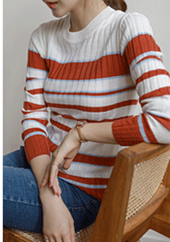 Bangor Stripes Knit Long Sleeves Top