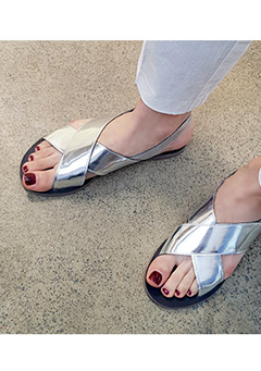 Marked Glossy Sandals