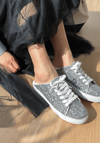 Glittered Lace-Up Sneakers