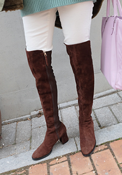 Over-the-Knee Cubic Heel Boots