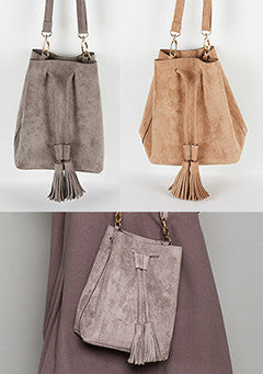 Tassel String Faux Suede Bag
