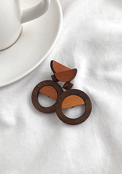 Half Fill-Up Wood Earrings