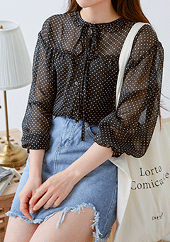 Dot See-Through Blouse