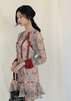 Welch Baroque Floral Embroidered Dress