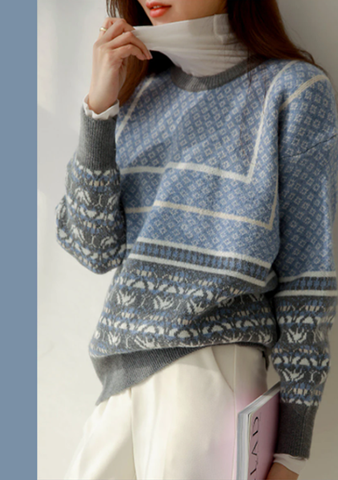 Refuse To Quit Nordic Pattern Knit Sweater