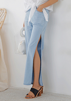 Side-Slit Denim Pants