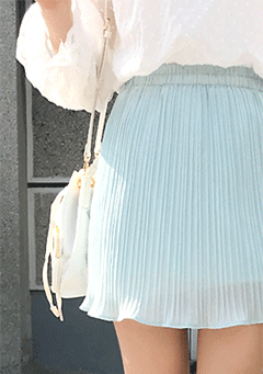 Bakop Pleated Pastel Blue Mini Skirt