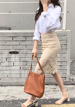 Watpi Lace Midi Skirt
