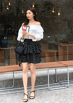Samo Layered Polka-Dot Skirt