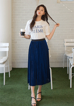 Labur Pleated Mid Skirt
