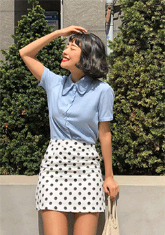 Pinipel Polka-Dot Straight Skirt