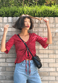 Jennie Polka-Dot Pleated Blouse