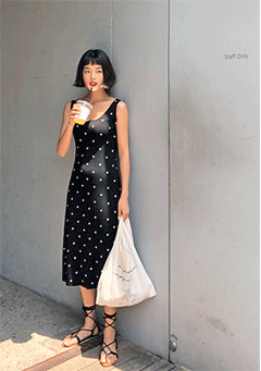 Uags Polka-Dot Sleeveless Midi Dress