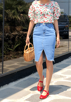 Glendale Split Leg Midi Denim Skirt