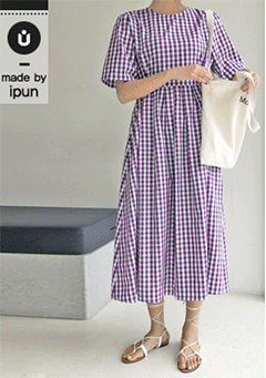 Dunan Gingham Pattern Tie Back Midi Dress