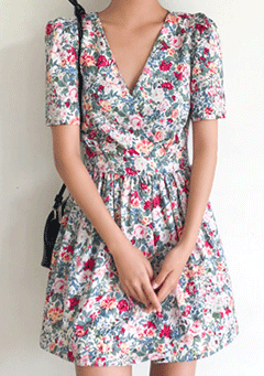 Daisy And Peonies Mini Dress