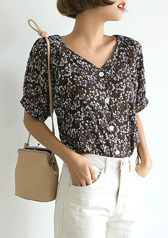 Carnation Lily Buttoned-Up Blouse