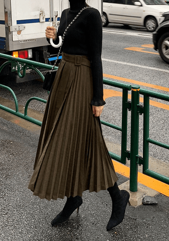Unbalanced Pleats Belt Skirt