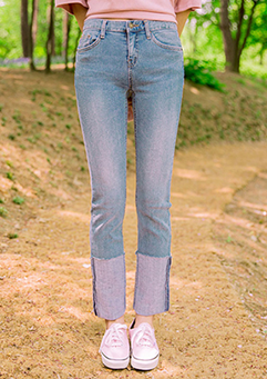 Light Blue Colored Roll up Jeans