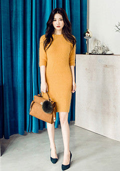 Round Neck Knit Sheath Dress