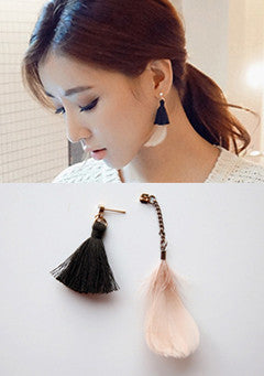 Tassel Thread And Feather Stud Earrings