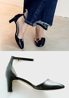 Toe Cut Ankle Strap Pumps