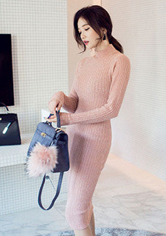 Ribbed Mock Neck Sheath Dress