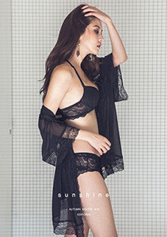 Sheer Lace Trim Robe