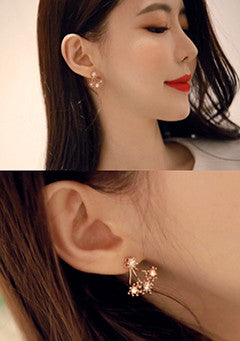 Dangling Rhinestone Flower Earrings