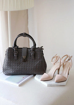 Woven Synthetic Leather Tote Bag