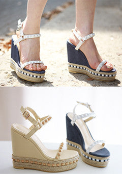 Pyramid Studded Wedge Sandals