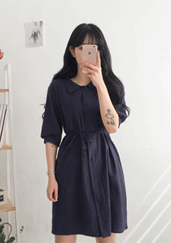 Polihale Shirtwaist Puffed Sleeves Dress