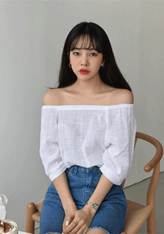 Gentle Texture Fabric Off Shoulder Blouse