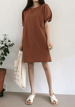 Round Puff Sleeve Linen Dress