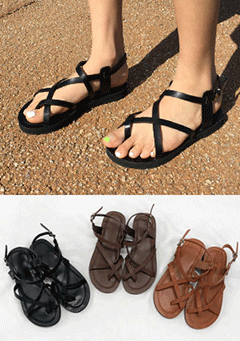 Capetown Pep Toe Cross Straps Sandals