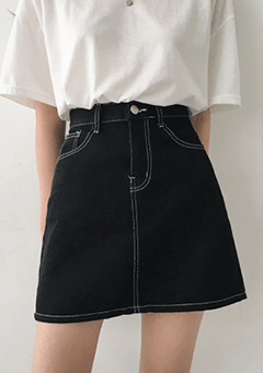 Thunder Fulgurations Black Jeans Skirt