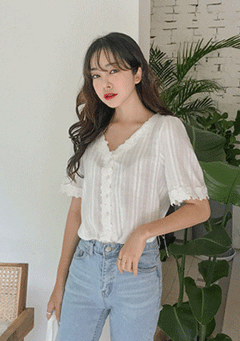 Breakfast Club Lace Neckline Blouse