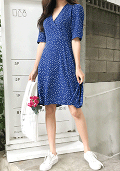 Take Time Polka-Dot Tied Back Dress