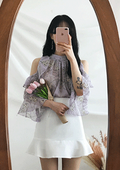Flower Love Open Shoulder Blouse
