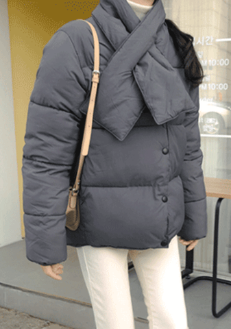 Expressed In Words Padded Jacket With Muffer