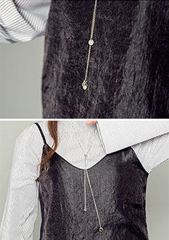 Long Silver Chain Slide Necklace