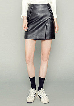 Side Button Fake Leather Skirt