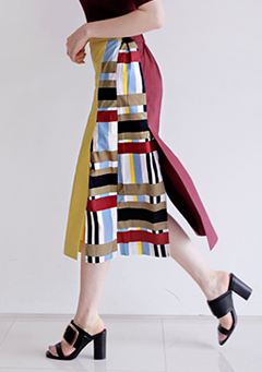 Color & Pattern Mixed Slit Skirt
