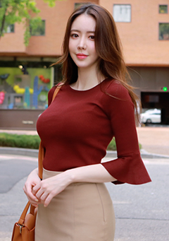Crop Sleeve Flare Knit