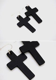 Wooden Cross Earring
