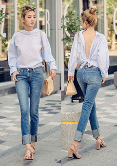 Rolled Up Straight Fit Jeans